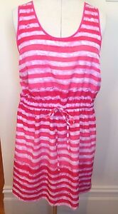 GAP-USA-Hot-Pink-Stripe-039-Colleen-039-Sleeveless-Drawstring-Waist-Summer-Sundress-XL
