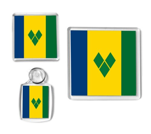 Keyring Coaster Christmas Stocking Filler. ST VINCENT Flag Caribbean Gift Set