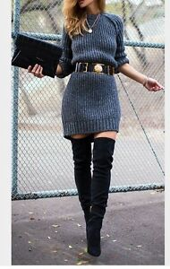 Image Is Loading Black Over The Knee Thigh High Boots 4