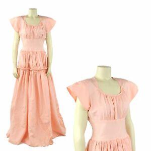 Vintage-40s-Pink-Taffeta-Art-Deco-Long-Sweep-Evening-Party-Prom-Princess-Dress