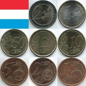 Luxemburg Euromünzen von 2002 bis 2021, unzirkuliert/bankfrisch