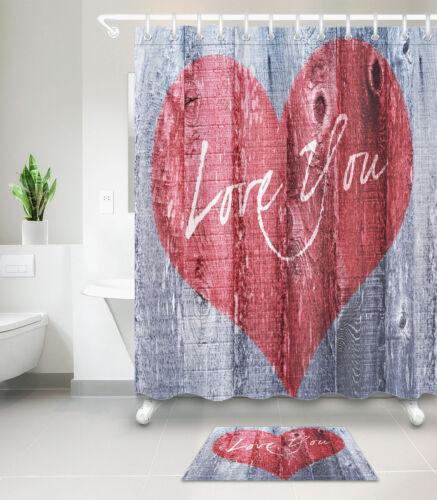 "60//72/"" Valentine/'s Love You Board Waterproof Fabric Bath Shower Curtain/&Mat/&Hook"