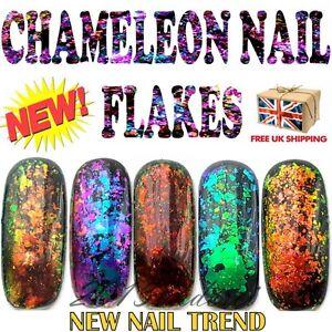 Chameleon-Nail-Flakes-Mirror-Chrome-Powder-Colour-Changing-Rose-Gold-Sequins-UK
