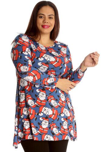 New Ladies Top Santa Christmas Xmas Print Novelty Plus Size Swing Dress Nouvelle