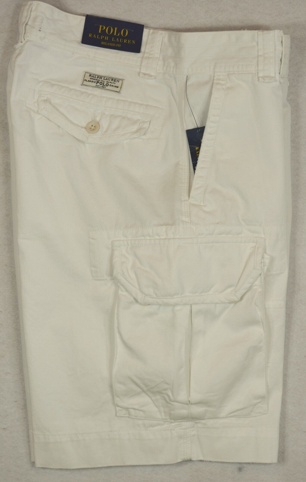 Polo Ralph Lauren Cargos Relaxed Fit Gellar Fatigue Cargo Shorts White 31 NWT