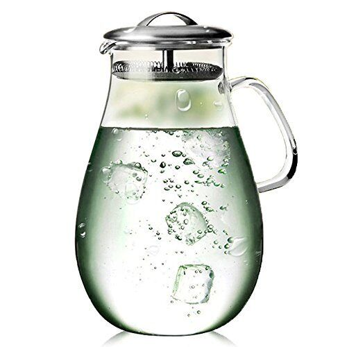 Large Heat Resistant Water Carafe Stainless Steel Lid Glass Beverage Pitcher