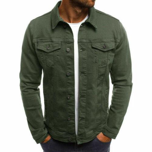 New Mens Denim Jacket Loose Fit Button Cotton Casual Jeans Jackets Coat Shirt