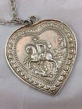 Collana cuore ex voto metallo bagno argento 5x 3,5 cm vintage milagros