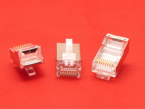 Lot 1000 Pcs CAT5 Shielded Rj45 8P8C Network Ethernet Plug Gold Plated Connector