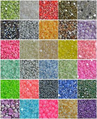 AB color Polished Half Pearls Nail Art scrapbook craft 2,3,4,5,6,8,10,12,14mm #1