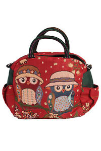 Ladies-Work-Festival-Satchel-Cross-Body-Shoulder-Owl-Bag-Red-BG424