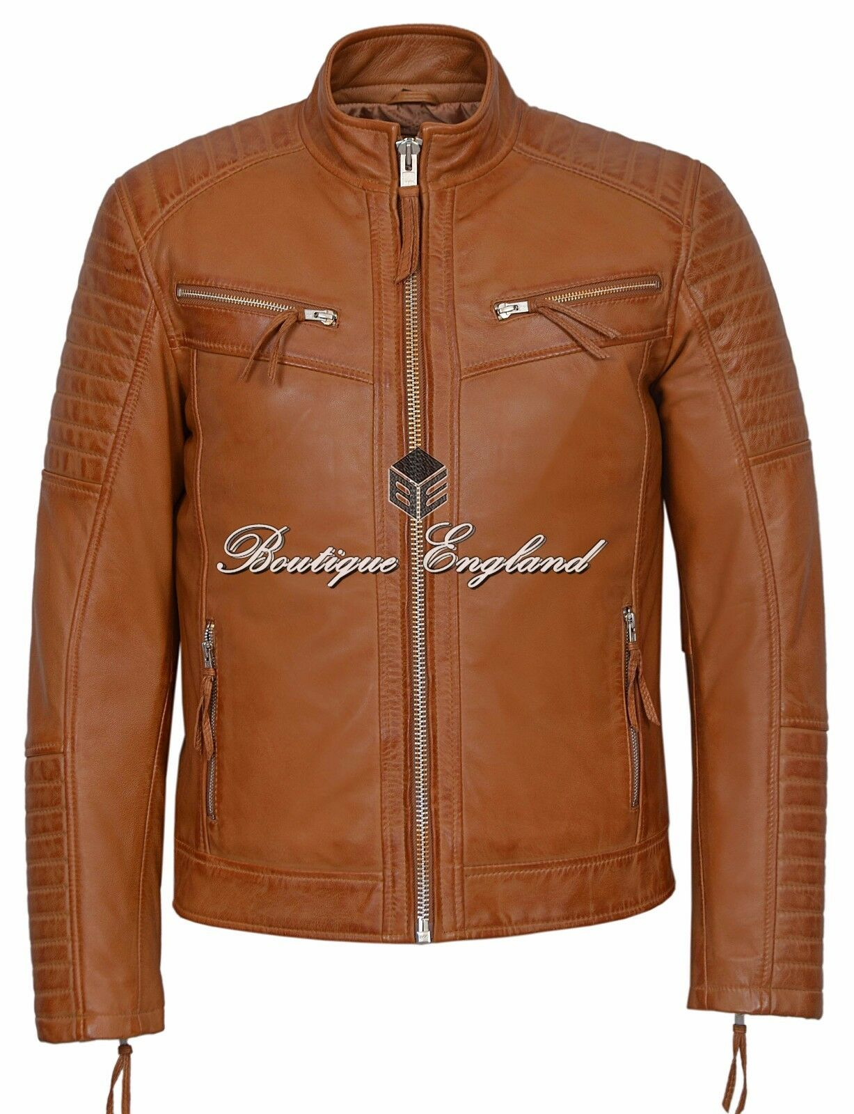 New Quilted jacke herren Tan Napa Biker Fashion Diamond Quilted REAL leder 2565