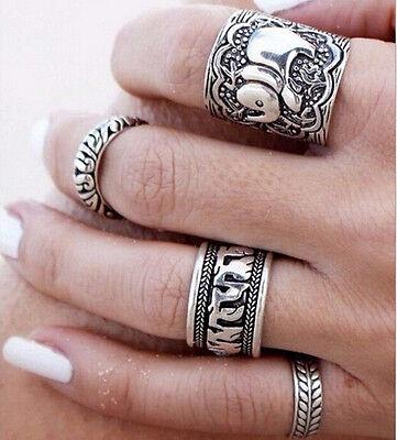 4PCS BOHO Silver Vintage Punk Retro Ring Womens Finger Rings Beach Jewelry Gift
