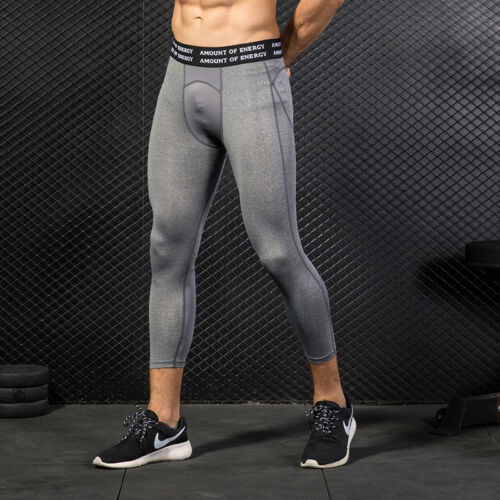 Men/'s Compression Tights Running Gym Workout Athletic Base LayerS 3//4 Moisture