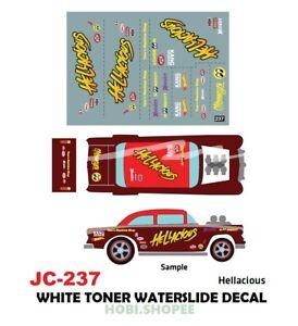Jc 9237 White Toner Waterslide Decals Hellacious For Custom 1 64 Hot Wheels Ebay