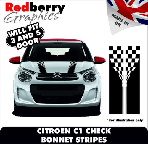 CITROEN C1 VINYL BONNET STRIPES CHECK 3DR//5DR furio Sports Graphics Decals 007