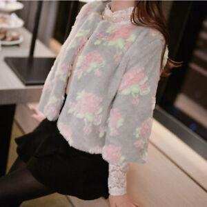 Coat Outwear Kort Warm Runde Faux Blomster Trench Kvinders Fur Slim Kors Jakcets wCZq6xfB8