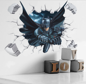 Image Is Loading 3D Cool Batman Wall Sticker Kids Room Home