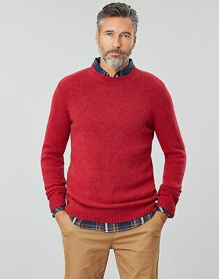Joules Mens Wooler Wool Crew Neck Jumper Deep Red
