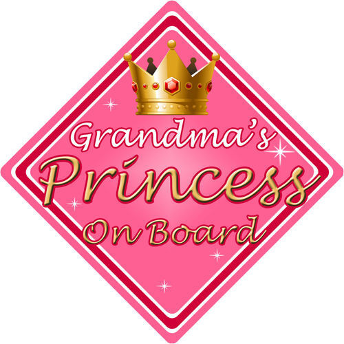 Non Personalised Child//Baby On Board Car Sign ~ Grandmas Princess On Board ~Pink