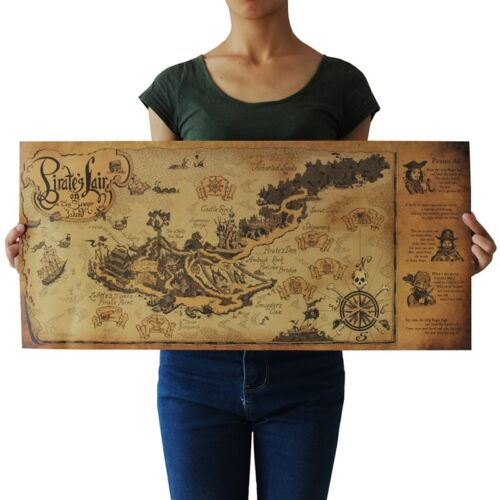 pirate lair map kraft paper retro poster wall decoration US Seller