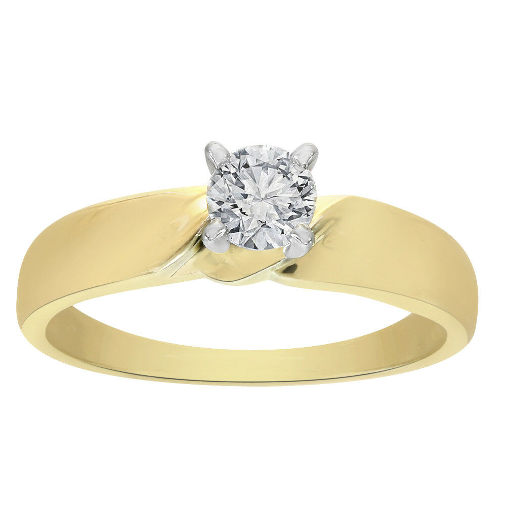 0.25 Carat Round Diamond Engagement Ring 14K Yellow gold
