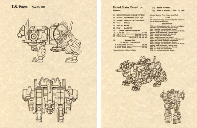 Transformers Ratbat Cassette Ready To Frame! Set of 4 Prints Patent Print