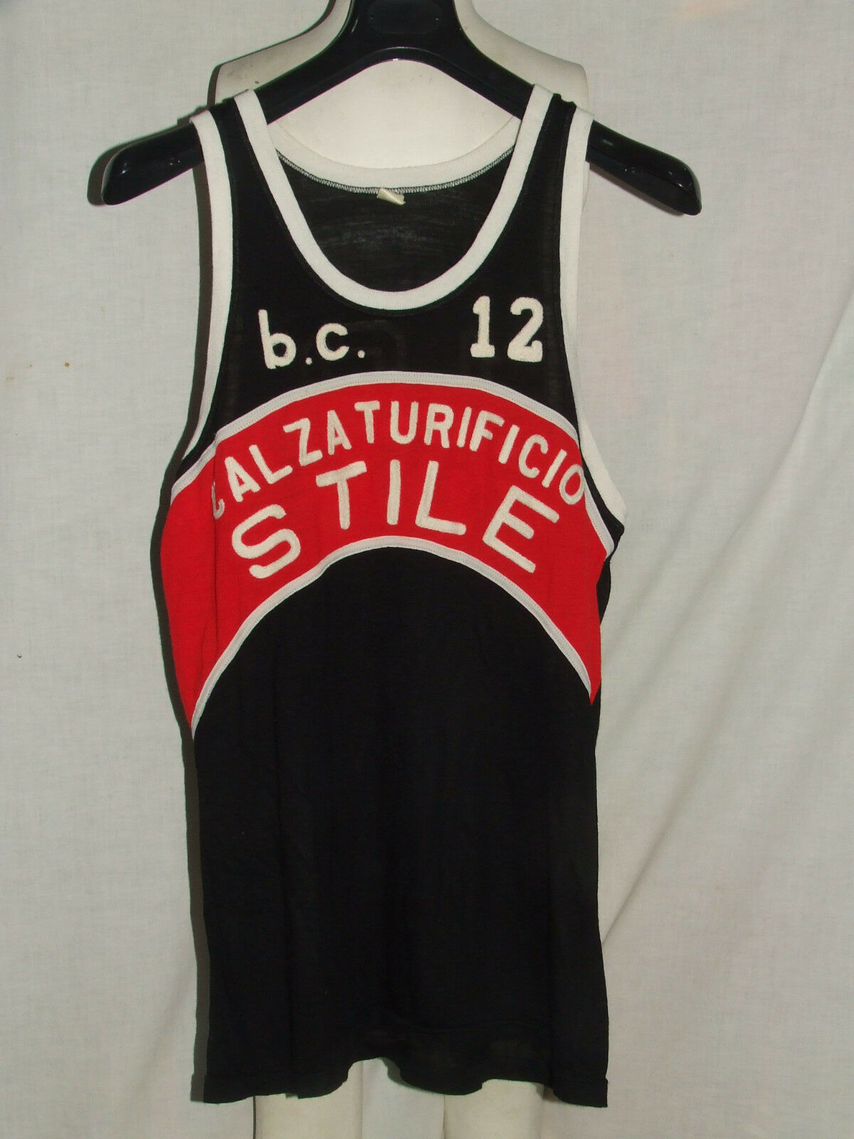 SHIRT MAILLOT TANK TOP BASKETBALL MATCH WORN ABC CASTELFIORENTINO n °12 80'S