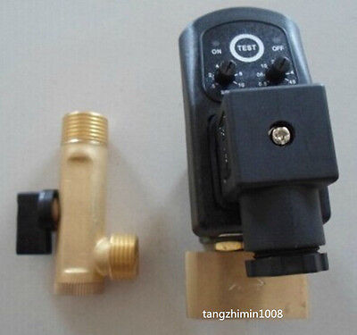"""NEW 220V 1//2/"""" Automatic timed Compressor Condensate Drain Timer Solenoid Valve"""