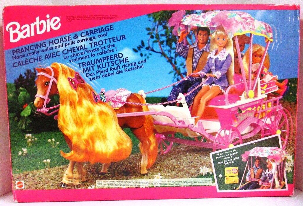Barbie 1994 conjunto de de de caballos y carruajes cabalgando (nuevo)  toma