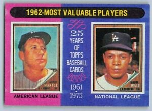 Details About 1975 Mantle Wills Topps Most Valuable Players Baseball Card 200