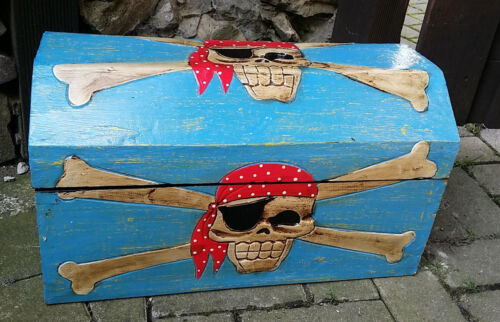 Holzkiste Kiste Schatz Truhe 48x26cm Truhe Schatulle Piraten Pirat totenkopf