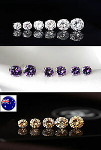 Women-Lady-Girl-bling-Crystal-Shine-Surgical-Piercing-Round-studs-Cubic-Earrings