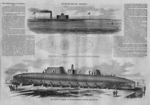 CIVIL WAR CHARLESTON SOUTH CAROLINA BIRDS-EYE VIEW LIGHTHOUSE IRON CLAD SHIPS