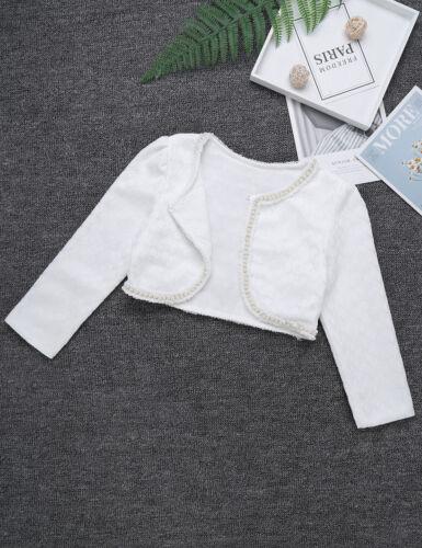 Kinder Mädchen Bolero Schulterjacke Langarm Spitze Cardigan Shrug Top Kurz Jacke