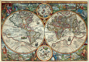 MP2-Vintage-Old-1594-Petrus-Plancius-Map-Of-The-World-Poster-Re-Print-A1-A2-A3