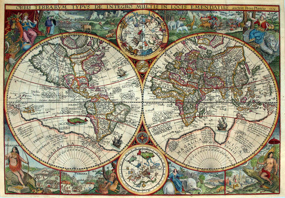 MP2 Vintage Old 1594 Petrus Plancius Map Of The World Poster Re-Print A1 A2 A3