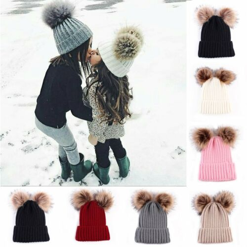 New Kids Baby Boy Girl Pom Hat Winter Warm Crochet Knit Bobble Beanie Cap SG