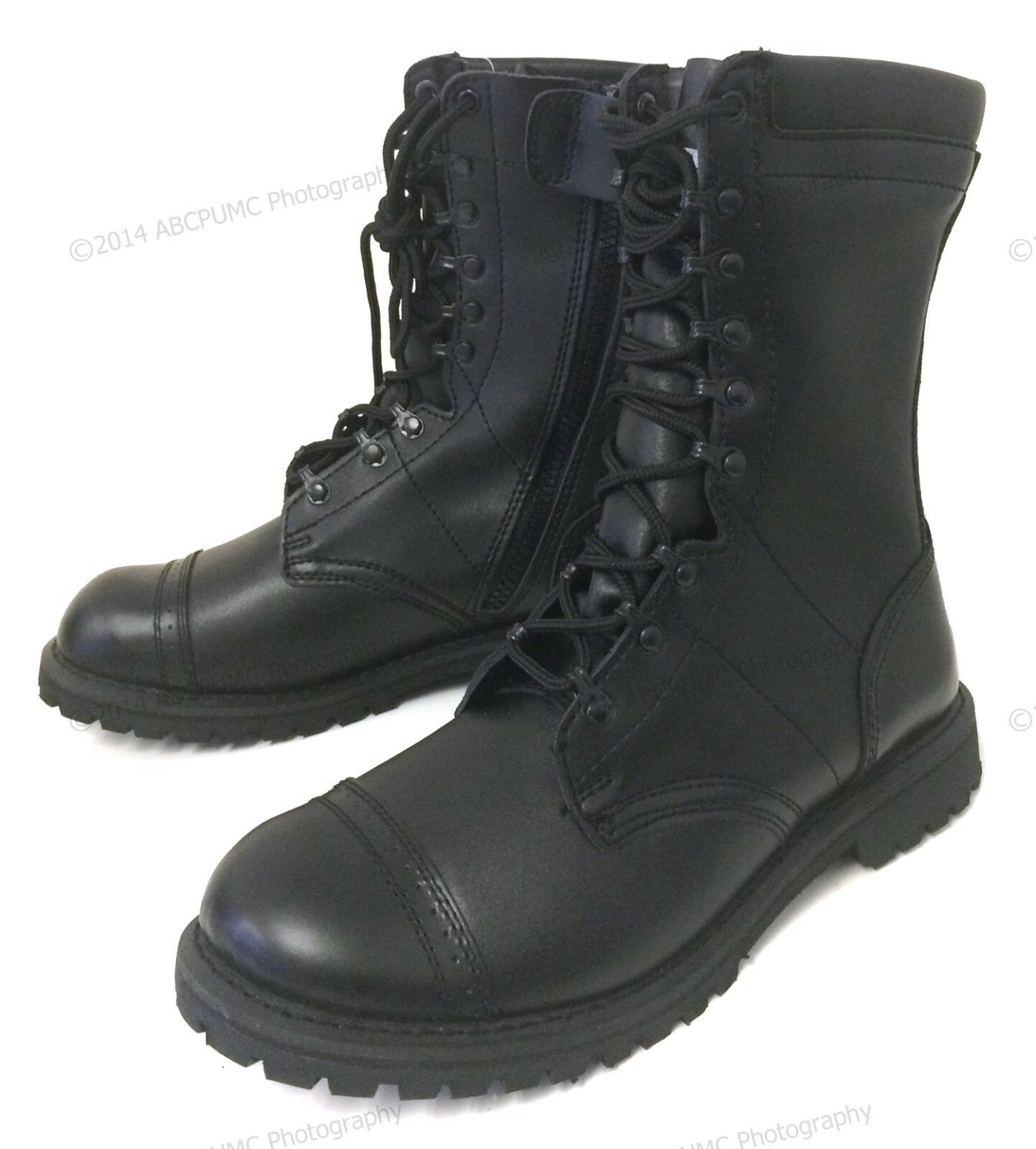 Brand New Men's Leather Tactical Boots Combat Military Army Work Zipper Shoes