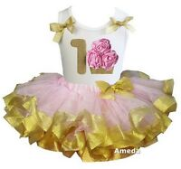 Light Pink Gold Tutu Pink 1st Rosettes Gold Cupcake Birthday Party Dress