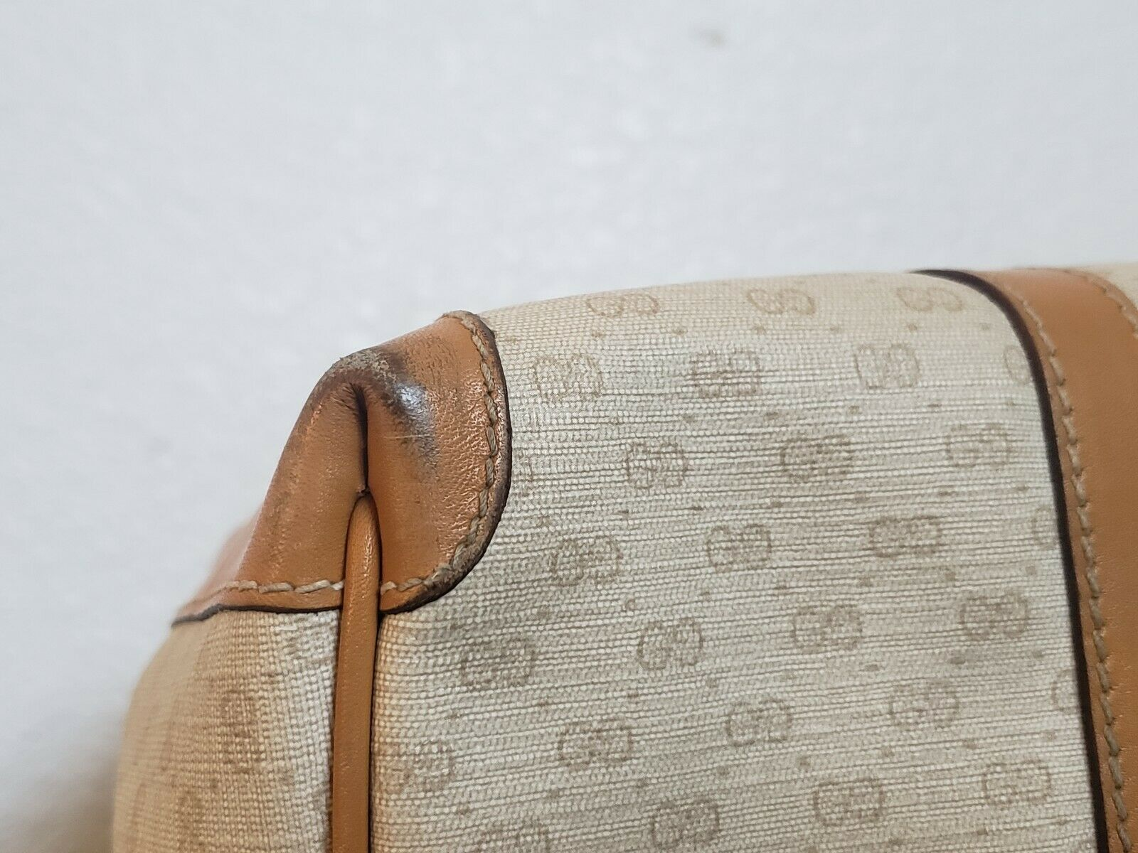 Vtg Gucci Tan GG Monogram Signature Boston Doctor… - image 12