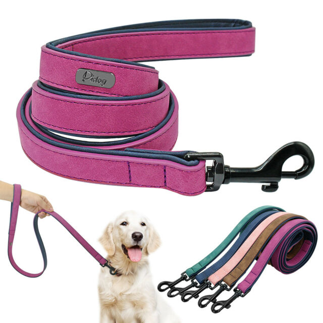 Soft Velvet Leather Padded Dog Leash 4ft Small Medium Large Dogs Walking Lead