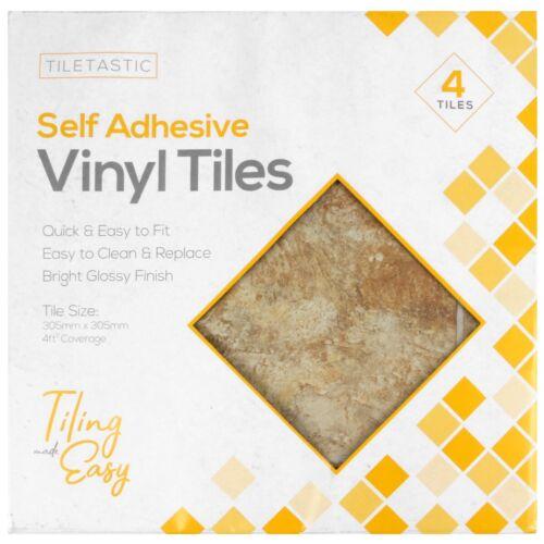 Stone SELF ADHESIVE FLOOR TILES 1ft x 1ft Kitchen Bathroom Vinyl Lino Stick Down