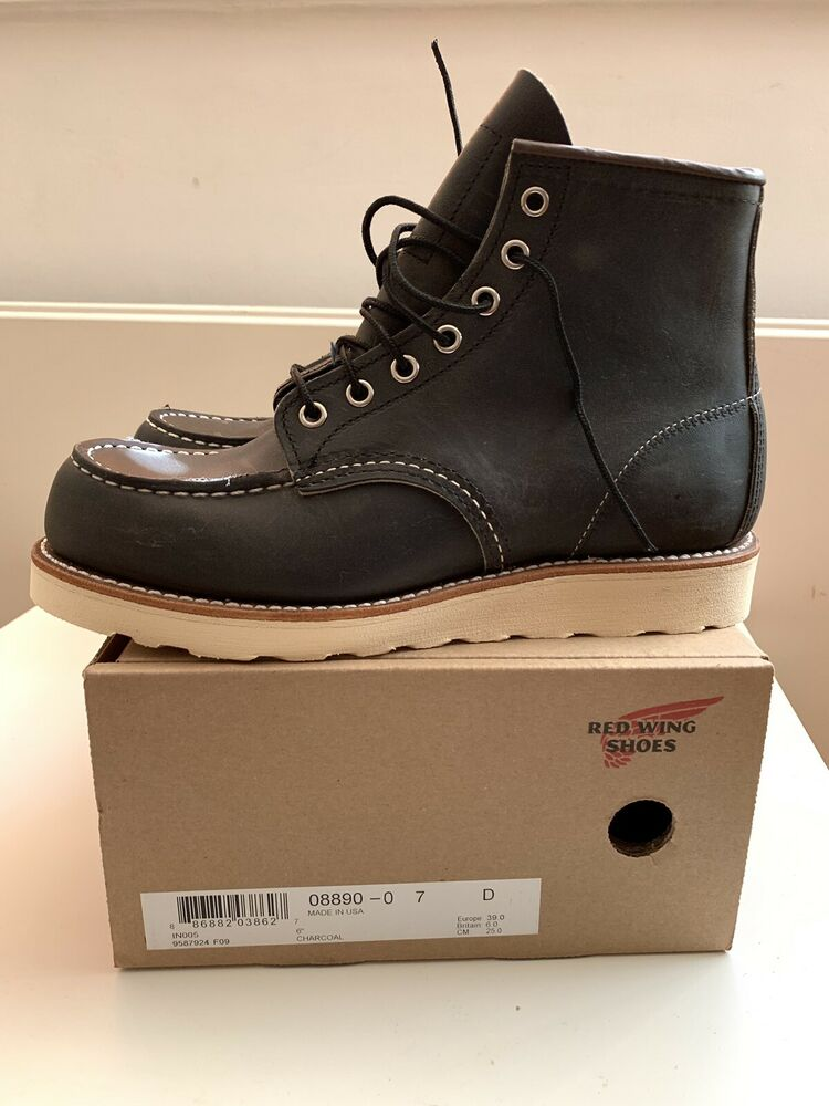 """Red Wing Hommes Bottes 8890 6"""" Classic Moc Toe Anthracite Rough & Tough Taille 6 Uk"""