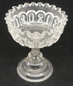 OLD-EAPG-PATTERN-GLASS-PEDESTAL-COMPOTE-RUFFLED-RIM-BUCKLE-TYPE-DESIGN