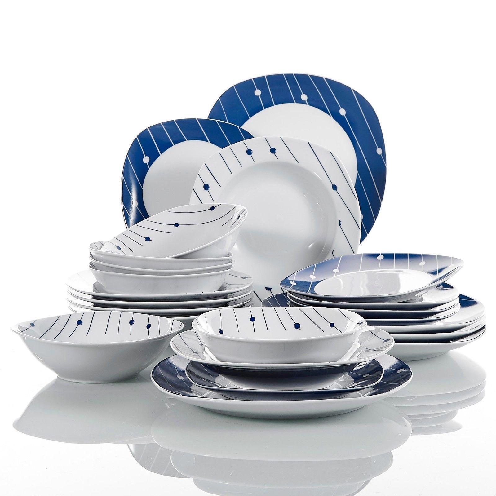 24Pcs Set da cena completi in ceramica piatti stoviglie stoviglie che serve tavolo e sedie per sala da pranzo