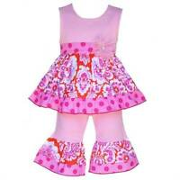 Annloren Boutique Orange & Pink Damask Tunic Capri Set 24 Months Or 2/3t