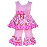 Annloren Boutique Orange & Pink Damask Tunic Capri Set 24 Months Or 2/3t