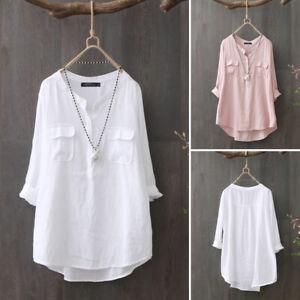 ZANZEA-Femme-Chemise-Blouse-Manche-Longue-Couleur-Unie-Loisir-Ample-Shirt-Plus