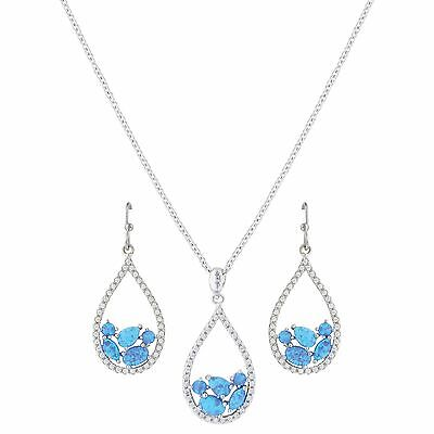 Montana Silversmith OPAL Cluster Tear Drop Necklace Dangle